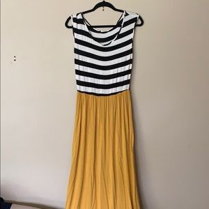 Black/white striped and Mustard Maxi dress